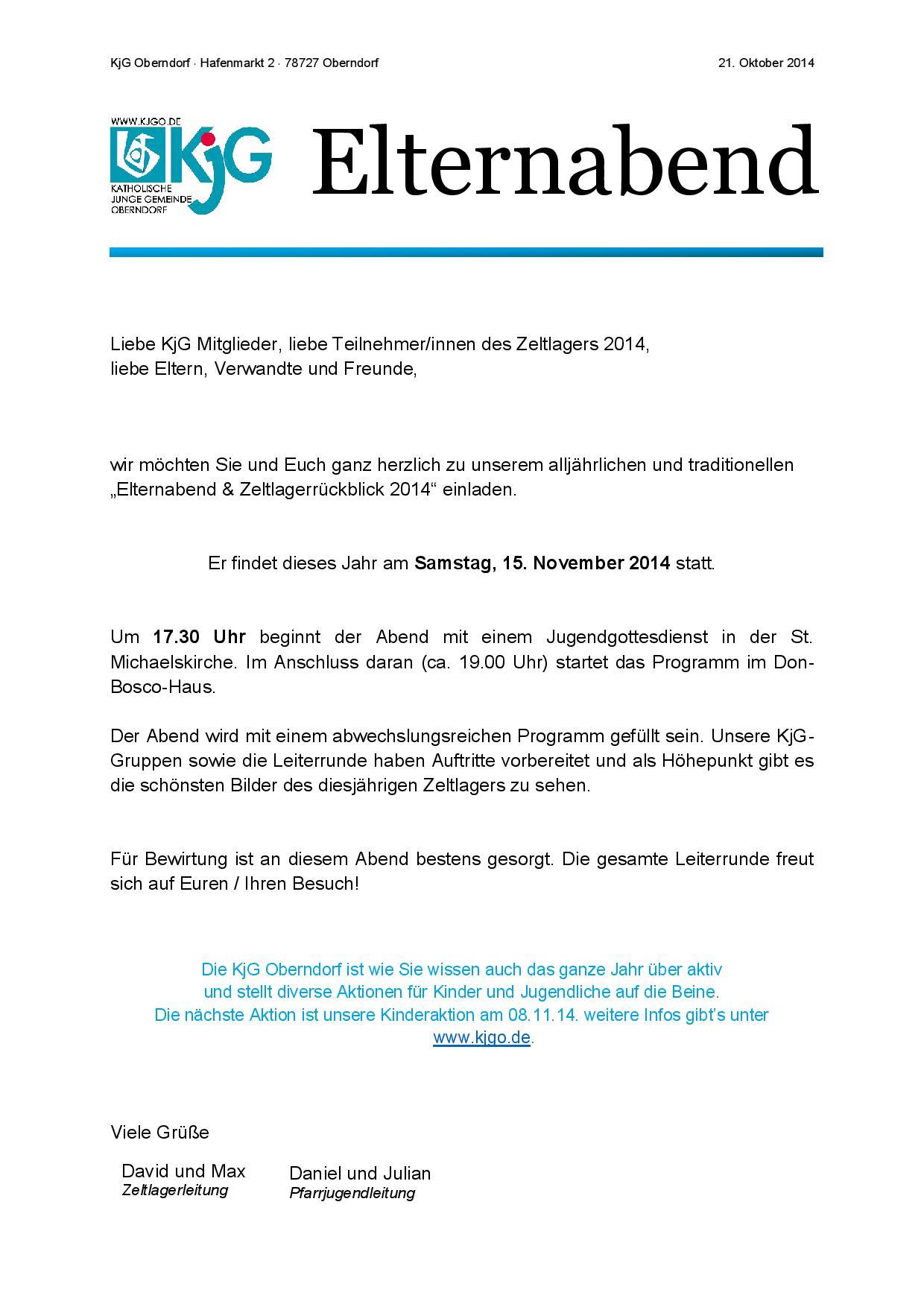 Einladung zum Elternabend – KjG Oberndorf